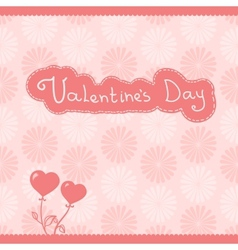 heart flowers pink background vector image