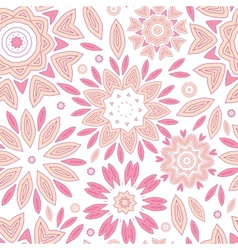 Pink abstract flowers seamless pattern background vector