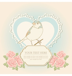 Greeting card with heart shape and bird vector image