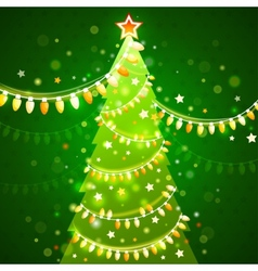 Christmas tree on a dark green background vector