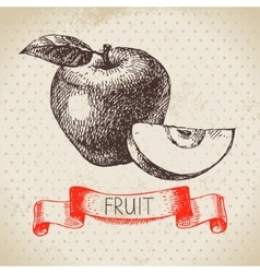 Hand drawn sketch fruit apple Eco food background vector image