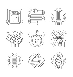 Saving energy thin line icons vector