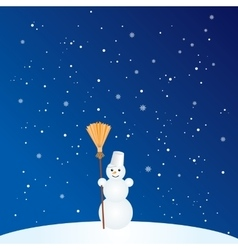 Cartoon Snowman with Broom vector image