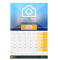 January 2016 wall monthly calendar for 2016 year vector