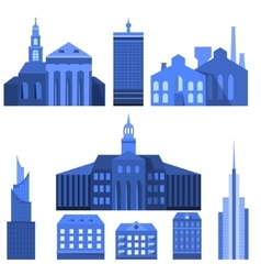 European flat city elements vector