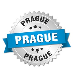 Prague round silver badge with blue ribbon vector