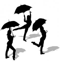 girl and umbrella vector image