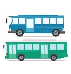 Side view of two city buses vector
