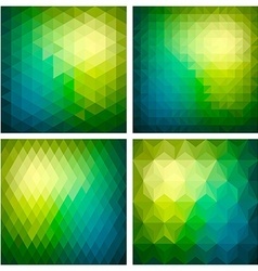 Abstract geometric green background set vector