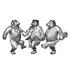 Bears dancing vintage vector