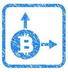 Bitcoin fork framed stamp vector