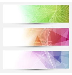 Bright triangular cards with swoosh lines vector image vector image
