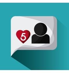 Bubble heart social media communication icon vector