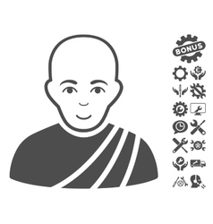 Buddhist monk icon with tools bonus vector