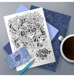 Cartoon doodles winter corporate identity vector