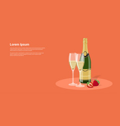 champagne and strawberry vector image