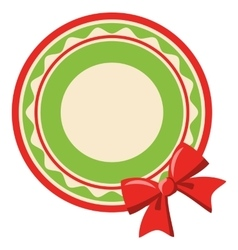 Circle christmas label icon flat with bow isolated vector