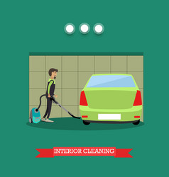 cleaning car interior in flat vector image vector image