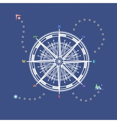 Compass rose line style design vector