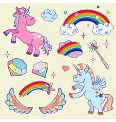 Cute magic unicorn rainbow fairy wings wand vector image