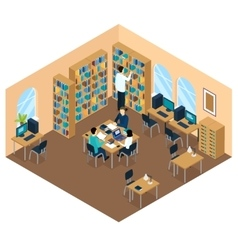 Education Library Isometric Student Composition vector image vector image