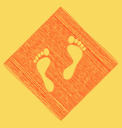 Foot prints sign red scribble icon vector