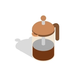 French press coffee maker icon isometric 3d style vector