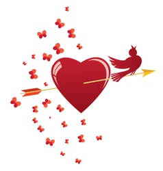 heart bird and arrow vector image vector image