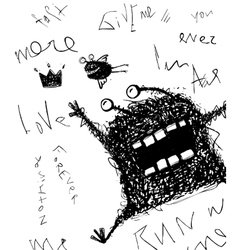 Horrible scribble hand drawn monster monochrome vector
