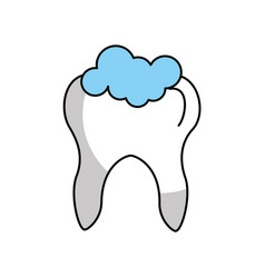 Human tooth with toothpaste vector
