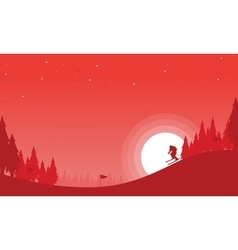 Landscape of the ski Christmas theme vector image