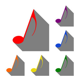music note sign set of red orange yellow green vector image vector image