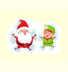 Santa and elf cartoon character having fun in snow vector