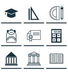 Set of 9 school icons includes graduation vector