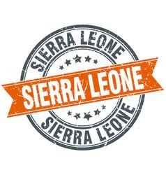 Sierra leone red round grunge vintage ribbon stamp vector