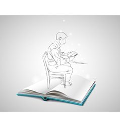 Sketch doodle man sitting at the table on a chair vector