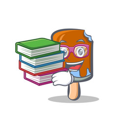 Student ice cream character cartoon with book vector