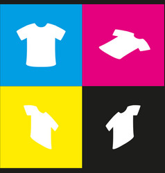 t-shirt sign white icon with isometric vector image vector image