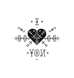 Tribal label with heart vector