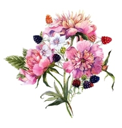 Watercolor floral bouquet vector image vector image