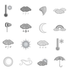 Weather icons set monochrome style vector