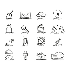 Web hand drawn icons vector image vector image