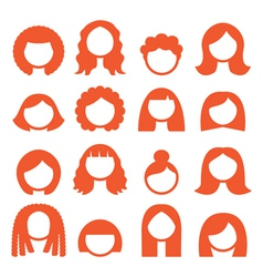 Woman hair styles wigs icons - ginger vector image