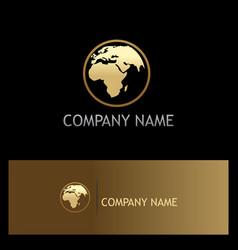 world globe gold logo vector image