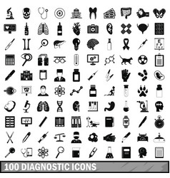 100 diagnostic icons set simple style vector