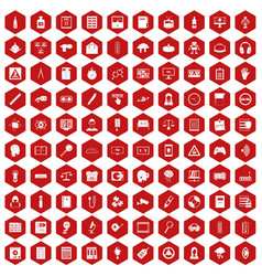 100 information icons hexagon red vector
