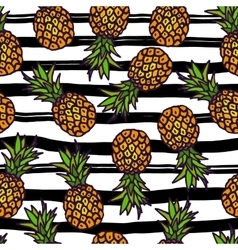 Pineapple seamless pattern on strips background vector