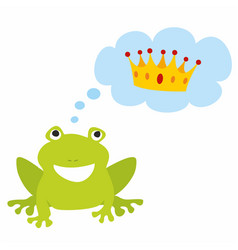 Prince or princess frog dreaming about crown vector