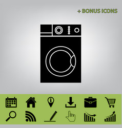 Washing machine sign  black icon at gray vector