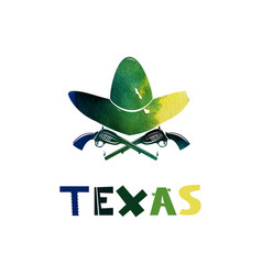 Texas watercolor weapons and cowboy hat firearms vector